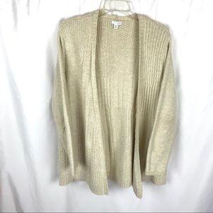 J.jill beige chunky knit open cardigan sweater